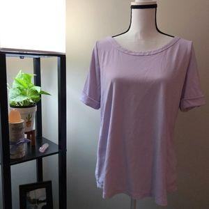 Talbots Lavender Cuffed Short Sleeve Shirt - 1X